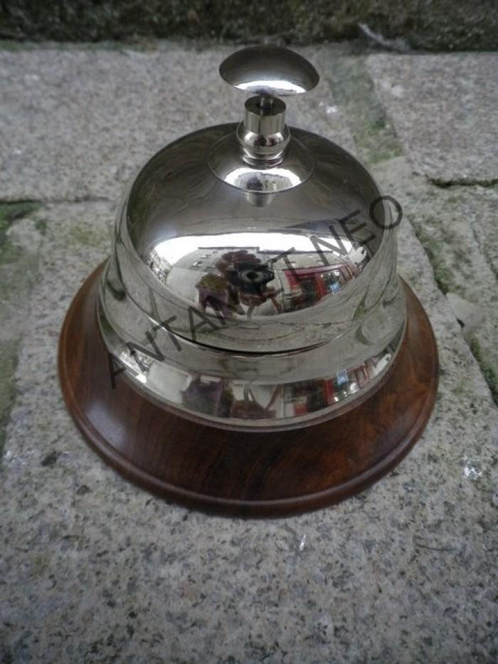 Sonnette de comptoir cloche laiton nickel boutique antan - Comptoir des bois de brive ...