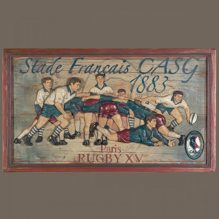 Tableau enseigne relief rugby stade fran ais casg bois et resine country corn - Country corner vaisselle ...