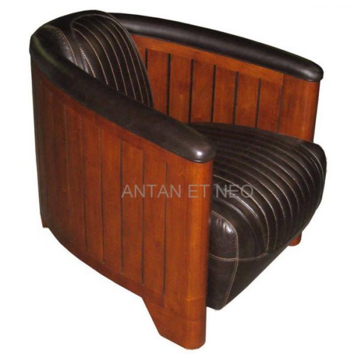 fauteuil club cano riva brown rio style paquebot de luxe cuir vachette. Black Bedroom Furniture Sets. Home Design Ideas