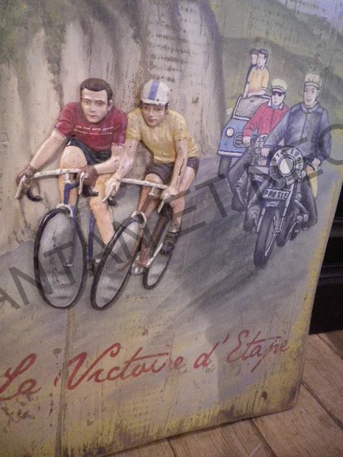 Tableau bois et resine country corner velo course cyclistes tour de france - Country corner vaisselle ...