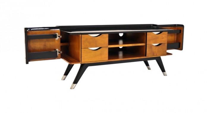 meuble tv shanghai noir et bois shabb01 noir. Black Bedroom Furniture Sets. Home Design Ideas