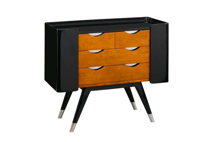 commode shanghai noir et bois shacom01 noir. Black Bedroom Furniture Sets. Home Design Ideas