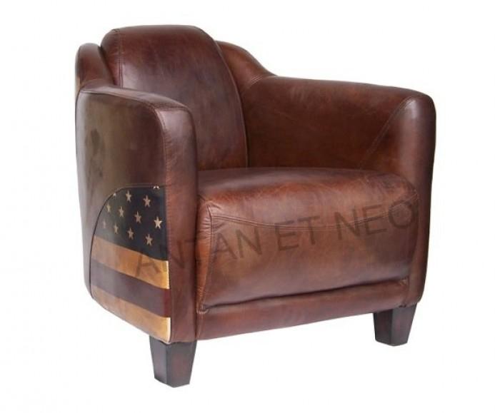 Fauteuil club d appoint us american cuir vintage antan et n o brive la gail - Fauteuil club cuir et metal ...