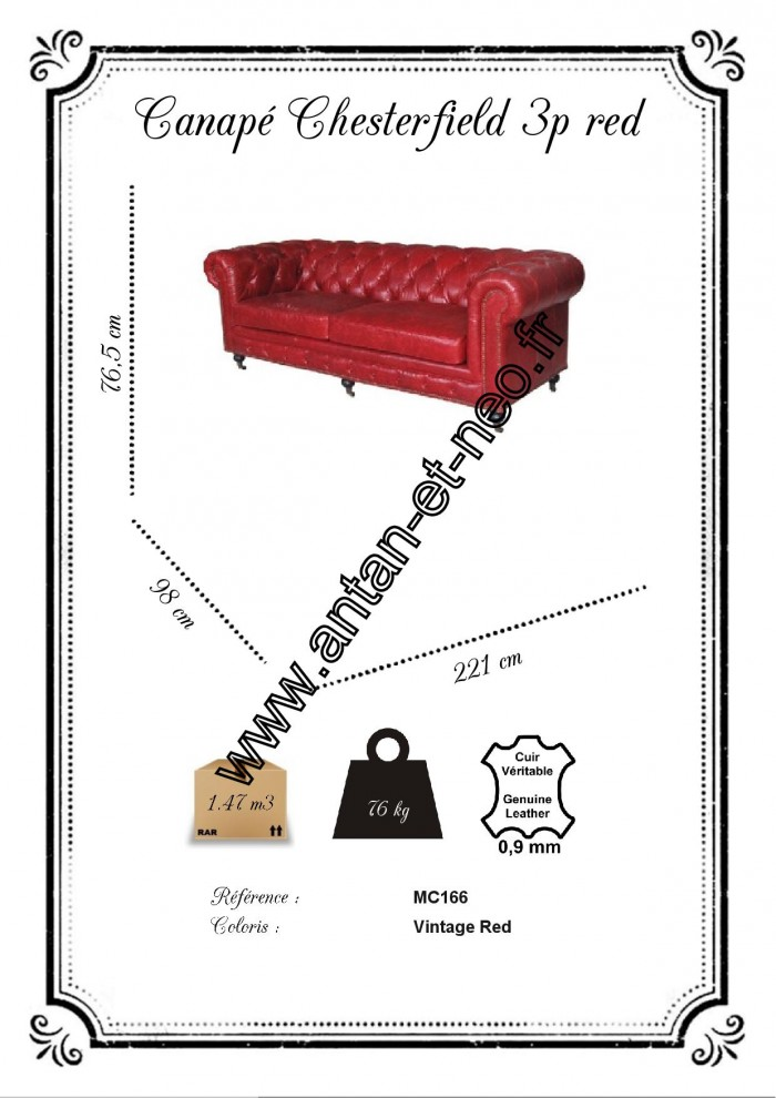 Mc166 canape 3 places chesterfield cuir rouge - Canape chesterfield cuir rouge ...