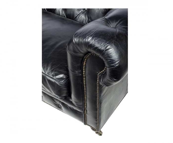 Canape chesterfield 3 places cuir noir mc125 for Canape chesterfield cuir noir
