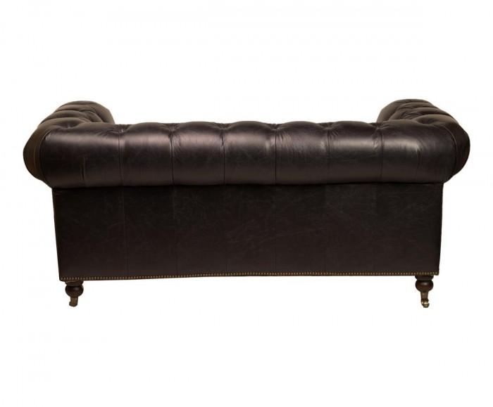 Canape 2 places chesterfield cuir noir mc154 for Canape chesterfield cuir noir