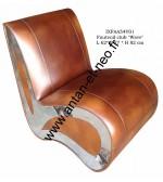 000 - Fauteuil Club Inox WAVE cuir Vintage IXFAA54V01