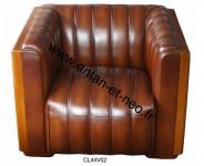 Fauteuil Club cuir cigare vintage ST Tropez CL44V02