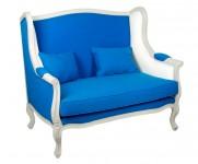 Canape 2 places tissu bleu style Louis XV MT10
