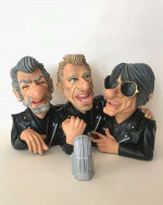 0000- Figurines Bustes Eddy Mitchell + Johnny et Jacques Dutronc caricatures  les vieilles canailles-Bis