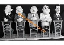 000000 - Figurines Série complète des 5 Tontons Flingueurs Prie Dieu - FERNAND RAOUL PAUL FOLACE JOHN - St Emett