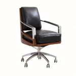 Fauteuil bureau  Pivotant Madison inox et cuir NOIR - design IXFAABUR55-C4