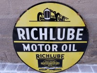 Antiquité Plaque Emaillée Double Face  RICHLUBE MOTOR OIL  - Enamel TIN sign advertising EMAIL
