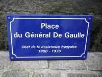 Aa- Plaque Email De rue Place du Géneral de GAULLE - Pochoir - Enamel TIN sign advertising EMAIL