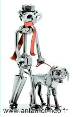 Figurine  METAL HINZ & KUNST le promeneur et le chien