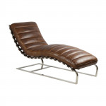 Fauteuil Chaise Longue CUIR MARRON VINTAGE MC194 - Aviation - Aéro - Avion
