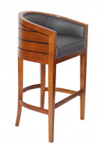 0000 - TABOURET DE BAR Pirogue BOIS et cuir GRIS ANTHRACITE - design CHABAR43C-C13