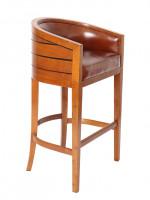 0000 - TABOURET DE BAR Pirogue BOIS et cuir MARRON VINTAGE - design CHABAR43V02