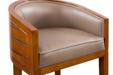 0000 - TABOURET DE BAR Pirogue BOIS et cuir GRIS TAUPE - design CHABAR43C-C12