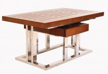 0000 - TABLE D'APPOINT PIROGUE RECTANGULAIRE BOIS ET INOX TBB43-IX