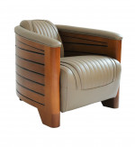 Fauteuil Club Pirogue - Cuir Gris Taupe CL43C-C12