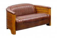Canapé 2 Places  Pirogue cuir marron vintage CAA43V02