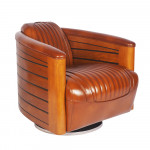 0000 - Fauteuil Club Pivotant Nautilus Pirogue BOIS et cuir MARRON VINTAGE - design IXCL43V02