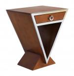 Console table appoint CHEVET  Delta  1 Tiroir Bois Couleur Noyer et METAL INOX IXTAP08