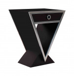 0000 - Console table appoint  Delta  1 Tiroir Bois LAQUÉE NOIR et METAL INOX IXTAP08-NOIR