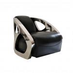 Fauteuil DESIGN Club Inox SQUALE cuir noir  IXCL52C-C4