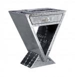 table de Chevet 1 tiroir aluminium aviation DELTA / ABYSS - Avion - Aéro ALUTAP08