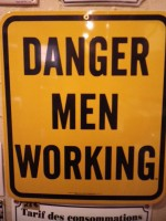 Plaque Email USA Danger Men Working - Enamel TIN sign advertising EMAIL