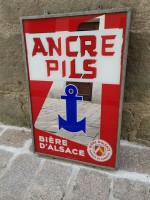 Antiquité Ancien ENSEIGNE Bière ANCRE PILS Fixé sous verre - Gerrer Mulhouse