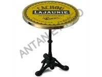 Guéridon Table Bistrot Acier Emaillé Cachou Lajaunie en version mange debout