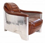 0000 - Fauteuil Club DC3 CUIR MARRON VINTAGE CL57V01ALU - Aviation - Aéro - Avion-Bis