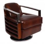 Fauteuil Club Pivotant Madison inox et cuir MARRON VINTAGE - design IXCL55V01