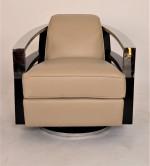 Fauteuil Club Pivotant Madison inox et cuir ivoire VINTAGE  - design IXCL55CHN-C5