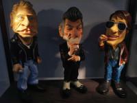 Figurines Eddy Mitchell + Johnny et Dutronc caricatures  les vieilles canailles