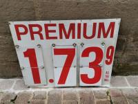 0000 - Antiquité Sign  panneau indication de tarif Premium pompe essence