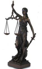 Figurine La Justice - Thémis - patine bronze debout