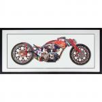 00000 - Tableau sous verre MOTO CHOPPER HARLEY DECO USA VINTAGE réf TC33