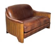 0000000 - CANAPE Club 2 Places cuir et bois modèle st Tropez