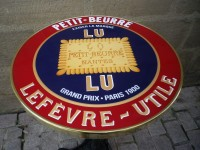 Guéridon Table Bistrot Email Petit beurre LU Nantes Lefevre Utile - Enamel TIN sign advertising EMAIL