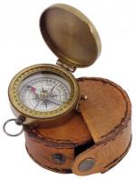 0000 - Boussole Compas étui cuir Laiton vieilli - Mer - Navigation - Nature - Découverte