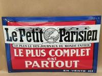 Plaque Email Bombée Presse Le Petit Parisien - Enamel TIN sign advertising EMAIL