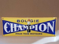 Plaque Email Bombée Bougies Champion - Enamel TIN sign advertising EMAIL