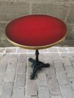 0000 - Guéridon Table Bistrot Acier Emaillé rouge - Enamel TIN sign advertising EMAIL