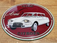 Plaque Email Bombée ami 6 CITROEN - Enamel TIN sign advertising EMAIL