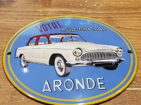 Plaque Email Bombée Simca Aronde - Enamel TIN sign advertising EMAIL