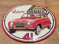 Plaque Email Bombée  4 L Renault - Enamel TIN sign advertising EMAIL